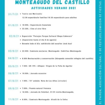 ACTIVIDADES DE VERANO 2021 EN MONTEAGUDO DEL CASTILLO
